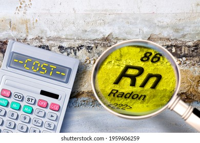 Costs about the construction of a ventilated crawl space in an old brick building - Searching gas radon concept with a calculator and magnifying glass.