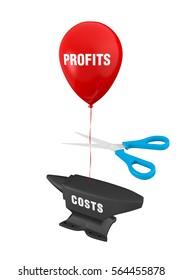 Costs Cuts Concept. 3D rendering