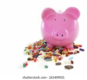 Costs of Pharmacuticals - Piggy Bank on White Background