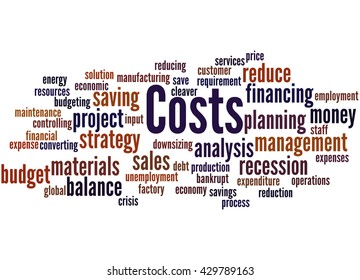 Costs, word cloud concept on white background.