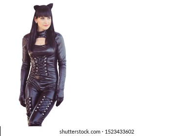 Costume of a beautiful young model wearing a cat costume. Hot sexy brunette cat-style female black fetish latex leather cat. Halloween isolated.