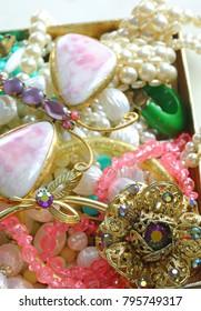 Costume jewelry close up