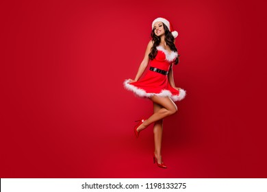 Costume party concept. Full legs body size glad attractive good-looking brunette lady sharp, pumps, stilettos in headwear with curly wave modern hairdo jump or dance isolated on vivid red background