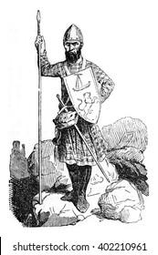 Costume Scots leaders of Edward I time, vintage engraved illustration. Colorful History of England, 1837.