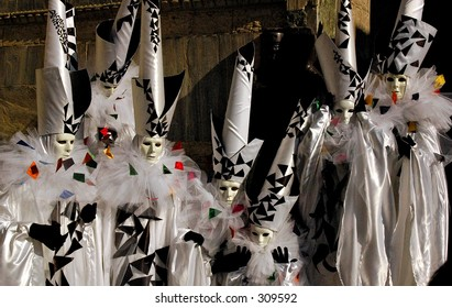 Costumes during the winter Carnival in Vienne, Italy.