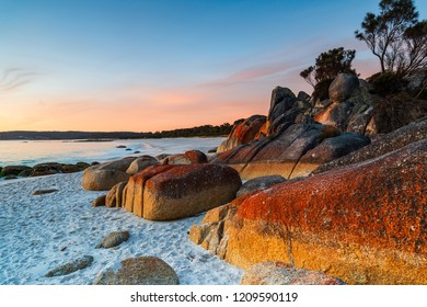 Cosy Corner, Bay of Fires, Tasmania, Australia. Epic sunrise over one of Tasmania's stunning locations.