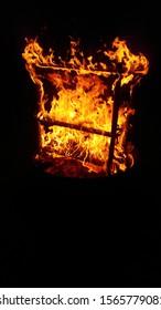A cosy fireplace on a nice night