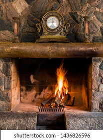 Cosy fireplace and vintage clock