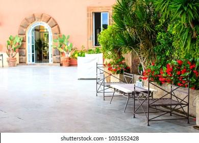 Cosy outdoor cafe in Positano, Amalfi coast, Italy.
