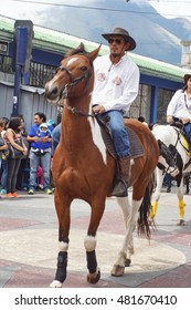 COTACACHI, ECUADOR - CIRCA JUNE 2016: Rider on a brown horse in the Paseo del Chagra or horse parade