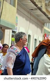 COTACACHI, ECUADOR - JULY 1, 2016: Women's parade in Inti Raymi, the Quechua solstice festival.