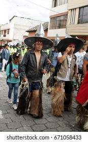 COTACACHI, ECUADOR - JUNE 25, 2017: Men's parade in Inti Raymi, the indigenous solstice celebration, with a history of violence in the village