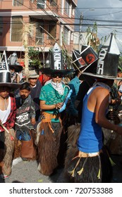 COTACACHI, ECUADOR - JUNE 29, 2017: Men's parade in Inti Raymi, the indigenous solstice festival, with a history of violence in the village