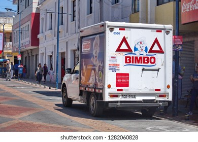 COTACACHI, ECUADOR - NOVEMBER 1, 2019: Bread truck parked on the side of the street
