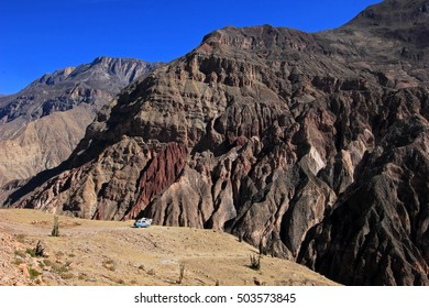 Cotahuasi Canyon Peru, van camping on overlooking platform, one of the deepest and most beautiful canyons in the world