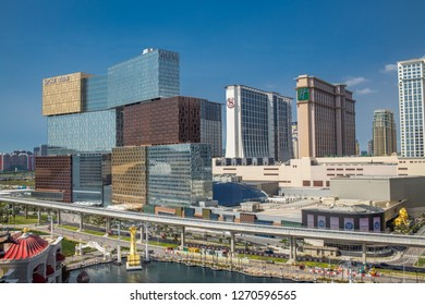 Cotai, Macau: September 20, 2018: Beautiful and luxurious downtown Macau skyline, including various skyscrapers, hotels and casinos. Macau is a region of China where gambling is legal.