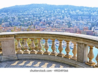 Cote d'Azur France. Panoramic view city of Nice, France. Luxury resort of French riviera.