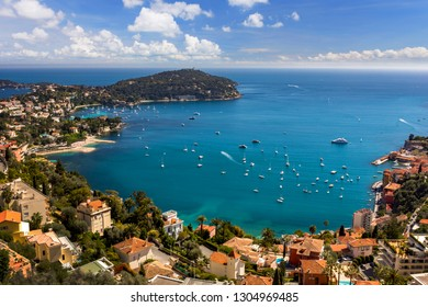Cote d'Azur France. View of luxury resort and bay of French riviera - Villefranche-sur-Mer is situated between Nice city and Monaco. Mediterranean Sea