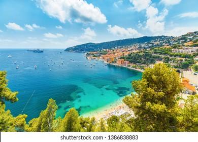 Cote d'Azur, France. View of luxury resort Villefranche-sur-Mer on French Riviera at Mediterranean Sea.
