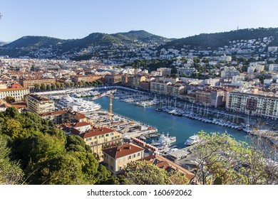 COTE d'AZUR, FRANCE-CIRCA OCTOBER 2013: View of the city and port of the hill Chateau Nice - one of the resorts of the Cote d'Azur France