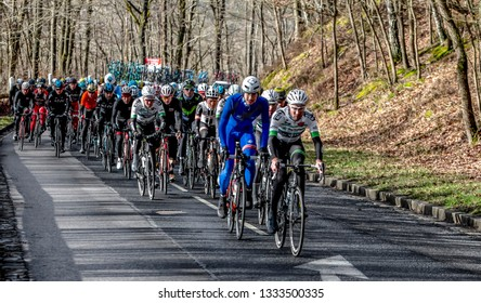 Cote de Senlisse, France - 5 March, 2017: Image of the peloton climbing on Cote de Senlisse during the first stage of Paris-nice on 05 March 2017.
