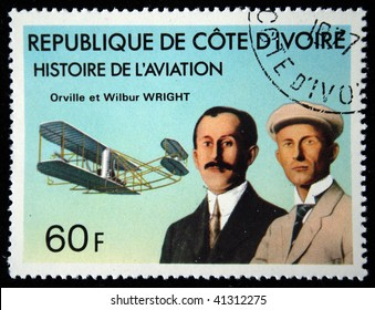 COTE D'IVOIRE - CIRCA 1971: A stamp printed in Cote d'Ivoire shows Orville and Wilbur Wright,  series devoted history of aviation, circa 1971