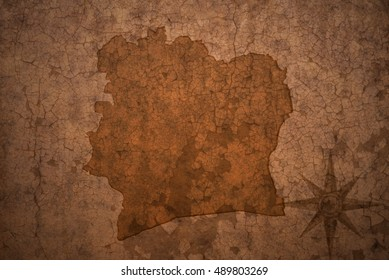 cote divoire map on a old vintage crack paper background