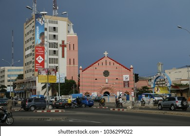 Cotonou Benin May 5 2014 Red white church Notre Dame de Misericorde means Our Lady of mercy
