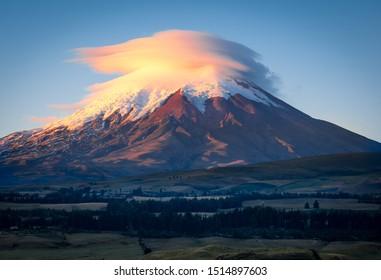 Cotopaxi Volcano in Ecuador during sunrise.