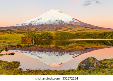 Cotopaxi Volcano Reflecting In Santo Domingo Lake