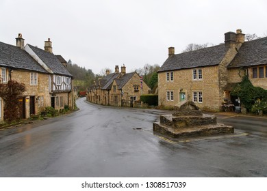 COTSWALD, GREAT BRITAIN - DEC 23, 2018: Rural architecture in Castle Combe in Cotswald, the prettiest village in UK. December 23, 2018 in Cotswold Great Britain