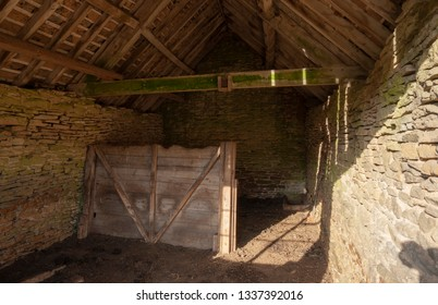 Cotswold barn interior, Gloucestershire, England