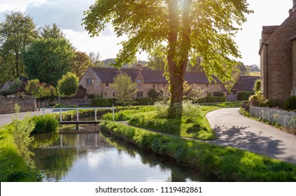 Cotswold village of Lower Slaughter, Gloucestershire, England.