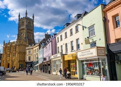 Cotswolds, UK - September 08 2019: Street view of Cirencester, a market town in Cotswolds area, England, UK