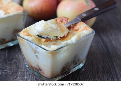 Cottage cheese baked pudding with apples and caramel. Homemade cottage cheese casserole with apples and caramel. Cottage cheese casserole.