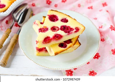 Cottage cheese casserole with raspberries