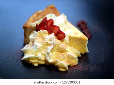 Cottage cheese casserole with whipped white chocolate and strawberries