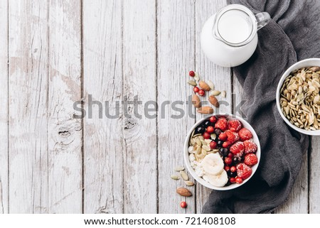 Cool Cottage Cheese Frozen Raspberries Currants Almonds Stock Interior Design Ideas Tzicisoteloinfo