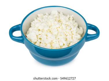 Cottage cheese in glass bowl isolated on white background