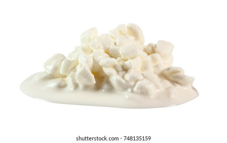Cottage Cheese. Isolated on white background.