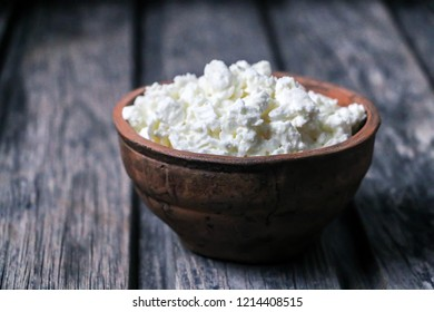 cottage cheese on an old wooden table