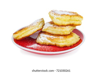 Cottage cheese pancakes isolated on white background