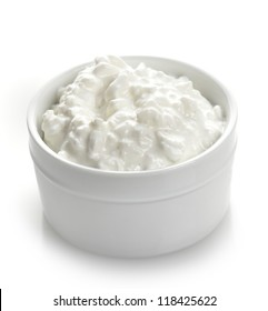 Cottage Cheese In A White Bowl