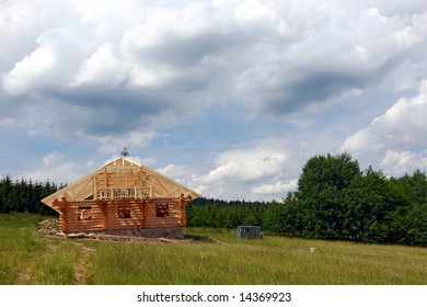 cottage construction in the summer countryside