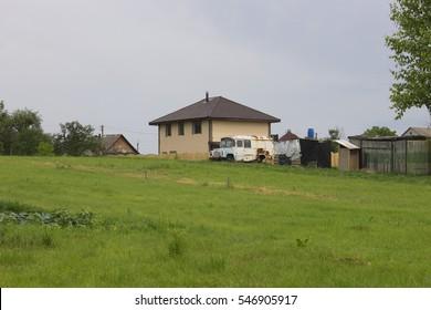 Cottage in the field, Ukrainian village