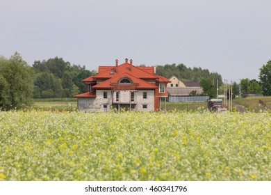 Cottage in the middle of the field, Ukrainian village