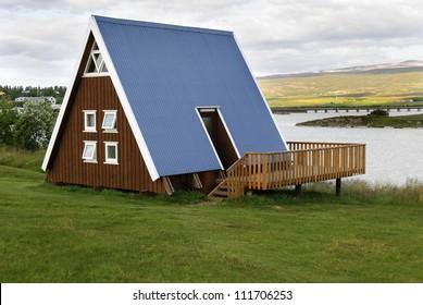Cottage on the river Egilsstadir in Iceland
