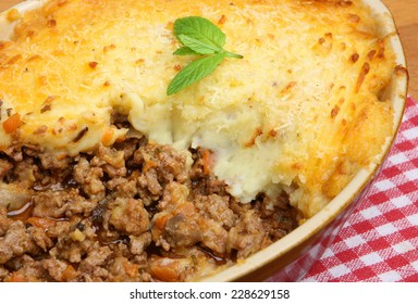 Cottage pie straight from the oven