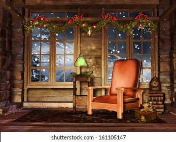 Cottage room with colorful Christmas garlands