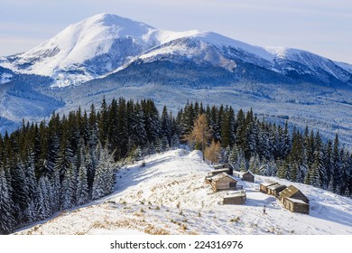 cottage in snowy mountains with fabulous winter trees